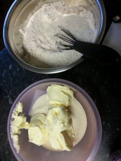 Weigh the dry ingredient and the butter and sugar for creaming into separate bowls.