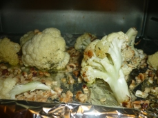 After the cauliflower has started to brown you can roast hazelnuts with them.